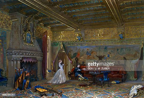 Design of a Gothic style hall for Chateau de Pierrefonds with the emperor and empress watercolour and gouache by Eugene Emmanuel ViolletLeDuc