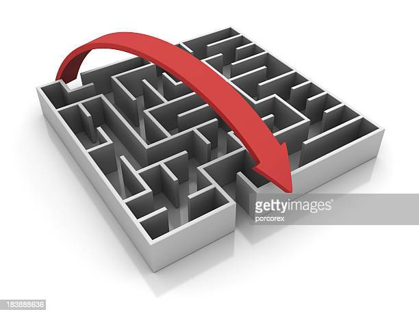 3D design of a maze with hovering over red arrow