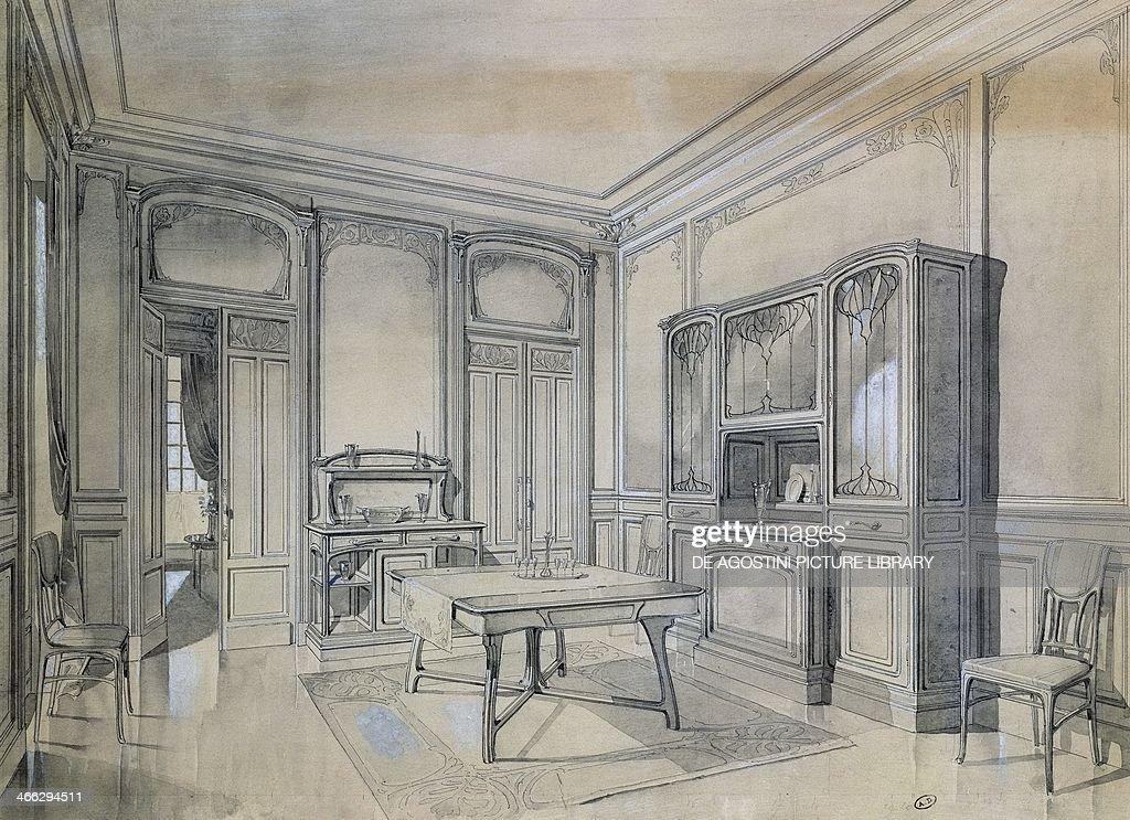 Design of an art nouveau dining room 18951904 black ink gray lavis designed for Atelier de l'Art Nouveau France 19th20th century