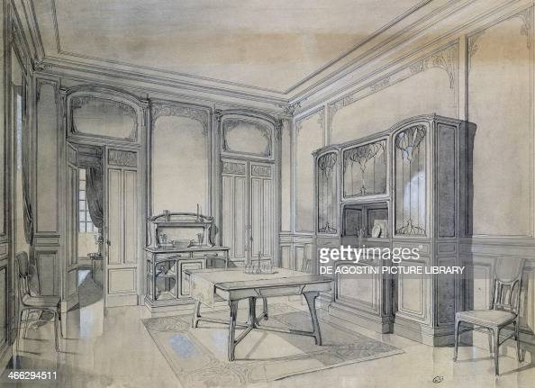 Design of an art nouveau dining room 18951904 black ink gray lavis designed for Atelier de l'Art Nouveau France 19th20th century