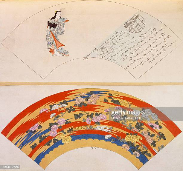 Design proposal for two fans artefact A Japanese artefact B floral motifs Japanese civilization19th century