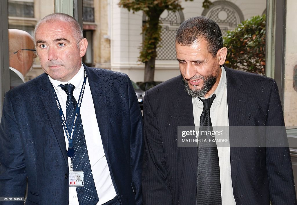 Designated chaplain assisting Muslims in prison Moulay alHassan elAlaoui Talibi arrives at the Interior ministry for a meeting with Interior minister...