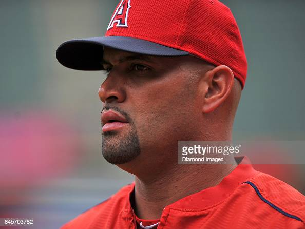 Designated hitter Albert Pujols of the Los Angeles Angels walks off the field prior to a game against the Cleveland Indians on August 12 2016 at...