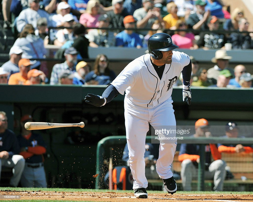 Designated hitter <a gi-track='captionPersonalityLinkClicked' href=/galleries/search?phrase=Alex+Avila&family=editorial&specificpeople=5749211 ng-click='$event.stopPropagation()'>Alex Avila</a> #13 of the Detroit Tigers bats against the Houston Astros March 4, 2013 at Joker Marchant Stadium in Lakeland, Florida.
