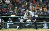 Designated hitter Alex Rodriguez of the New York Yankees ducks under a high pitch during the sixth inning of the game against the Detroit Tigers at...