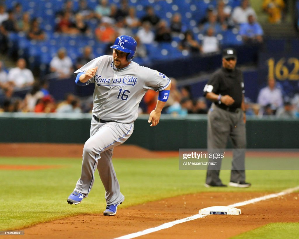 Designated hitter <a gi-track='captionPersonalityLinkClicked' href=/galleries/search?phrase=Billy+Butler&family=editorial&specificpeople=759092 ng-click='$event.stopPropagation()'>Billy Butler</a> #16 of the Kansas City Royals rounds 3rd base and scores in the 8th inning against the Tampa Bay Rays June 13, 2013 at Tropicana Field in St. Petersburg, Florida. The Royals scored 8 runs in the inning.