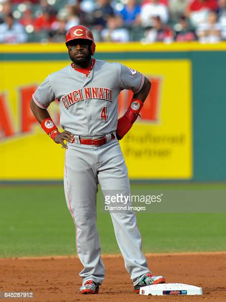 Designated hitter Brandon Phillips of the Cincinnati Reds stands at second base during a game against the Cleveland Indians on May 17 2016 at...