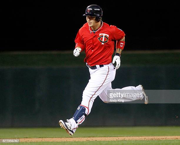 Designated hitter Byung Ho Park of the Minnesota Twins rounds the bases after a home run off the Milwaukee Brewers in the fourth inning in a game on...