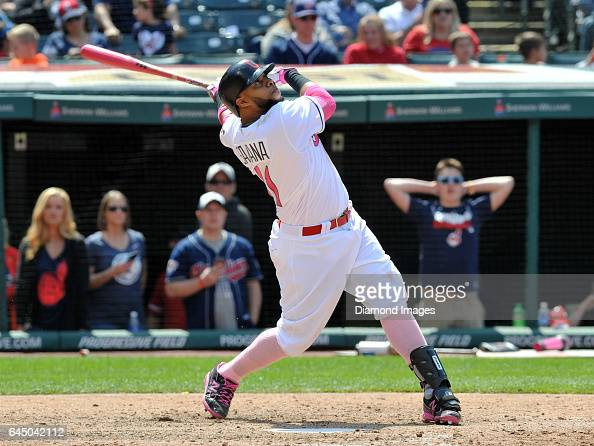 Designated hitter Carlos Santana of the Cleveland Indians bats during a game against the Kansas City Royals on May 8 2016 at Progressive Field in...