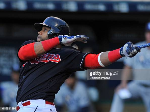 Designated hitter Carlos Santana of the Cleveland Indians bats during a game against the Tampa Bay Rays on June 21 2016 at Progressive Field in...