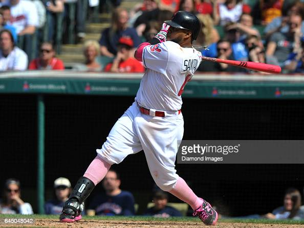 Designated hitter Carlos Santana of the Cleveland Indians during a game against the Kansas City Royals on May 8 2016 at Progressive Field in...