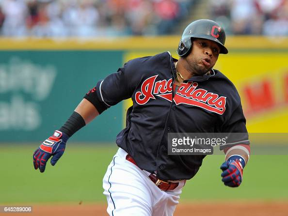 Designated hitter Carlos Santana of the Cleveland Indians runs toward third base during a game against the Cincinnati Reds on May 17 2016 at...