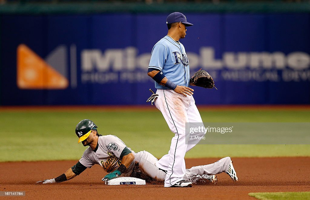 Designated hitter Coco Crisp #4 of the Oakland Athletics steals second base as shortstop Yunel Escobar #11 of the Tampa Bay Rays looks on during the game at Tropicana Field on April 21, 2013 in St. Petersburg, Florida.