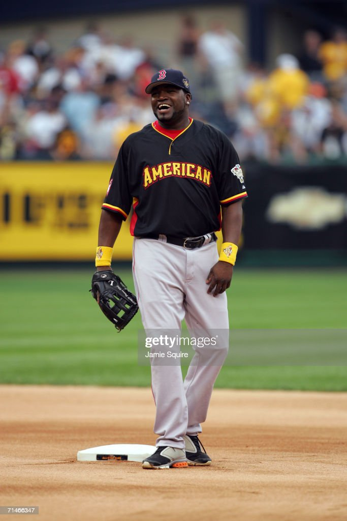 Designated hitter David Ortiz of the American League AllStar team smiles while practicing for the 77th MLB AllStar Game against the National League...