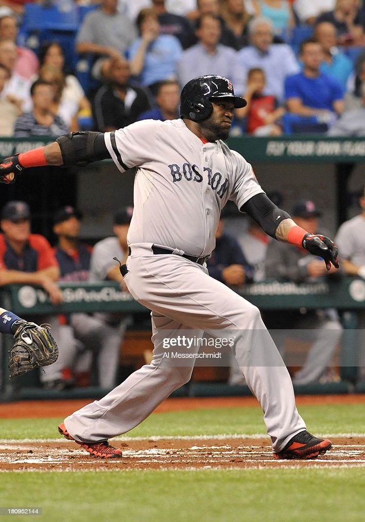 Designated hitter David Ortiz #34 of the Boston Red Sox bats against the Tampa Bay Rays September 10, 2013 at Tropicana Field in St. Petersburg, Florida.