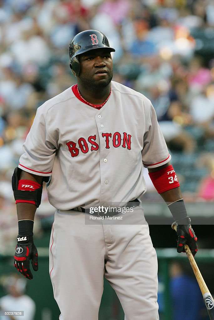 Designated hitter David Ortiz of the Boston Red Sox bats against the Texas Rangers on July 5 2005 at Ameriquest Field in Arlington in Arlington Texas...