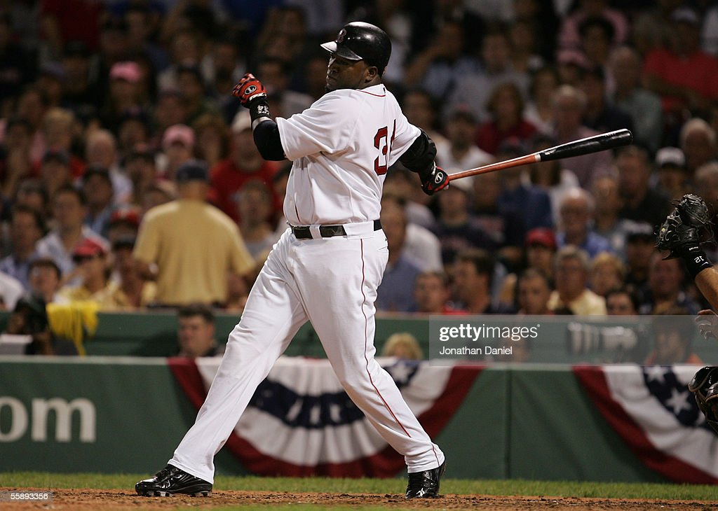 Designated hitter David Ortiz of the Boston Red Sox bats against the Chicago White Sox during Game Three of the American League Division Series at...