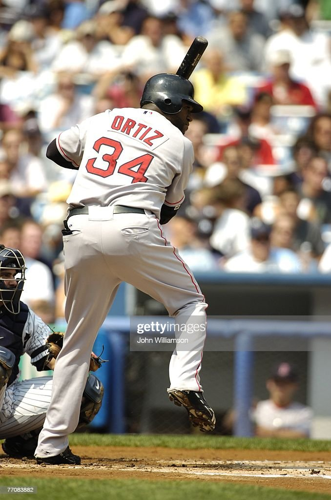 Designated hitter David Ortiz of the Boston Red Sox bats during the game against the New York Yankees at the Yankee Stadium in the Bronx New York on...