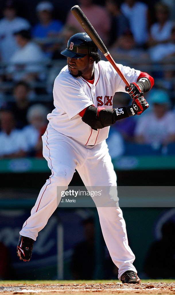 Designated hitter David Ortiz of the Boston Red Sox prepares for a pitch from the Minnesota Twins during the game on March 2 2008 at City of Palms...