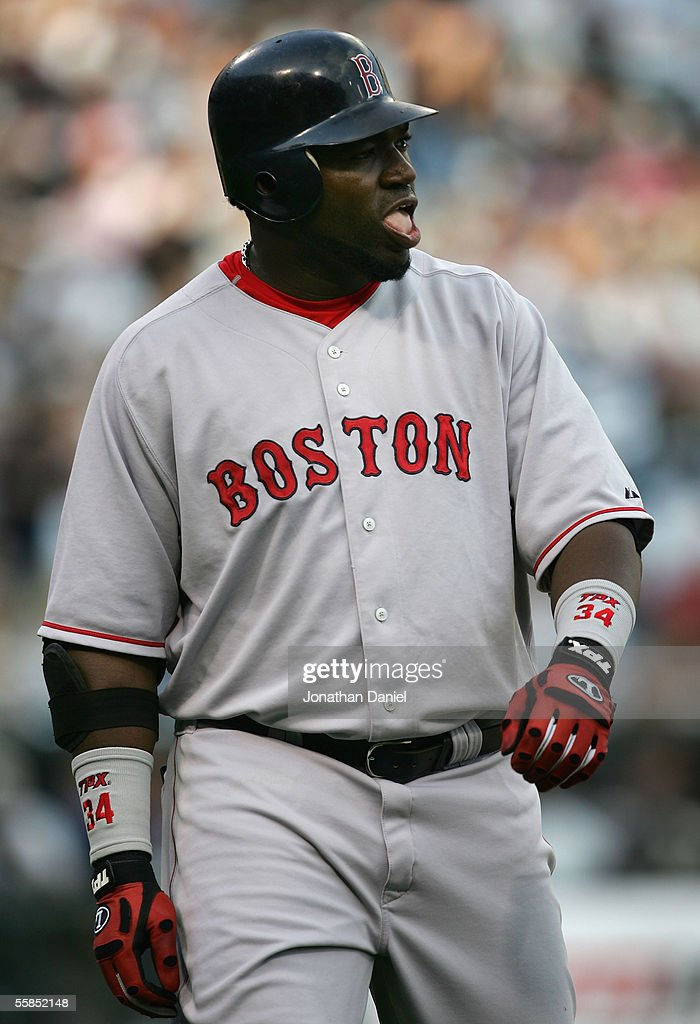 Designated hitter David Ortiz of the Boston Red Sox reacts after popping out to the Chicago White Sox during Game 1 of the American League Division...