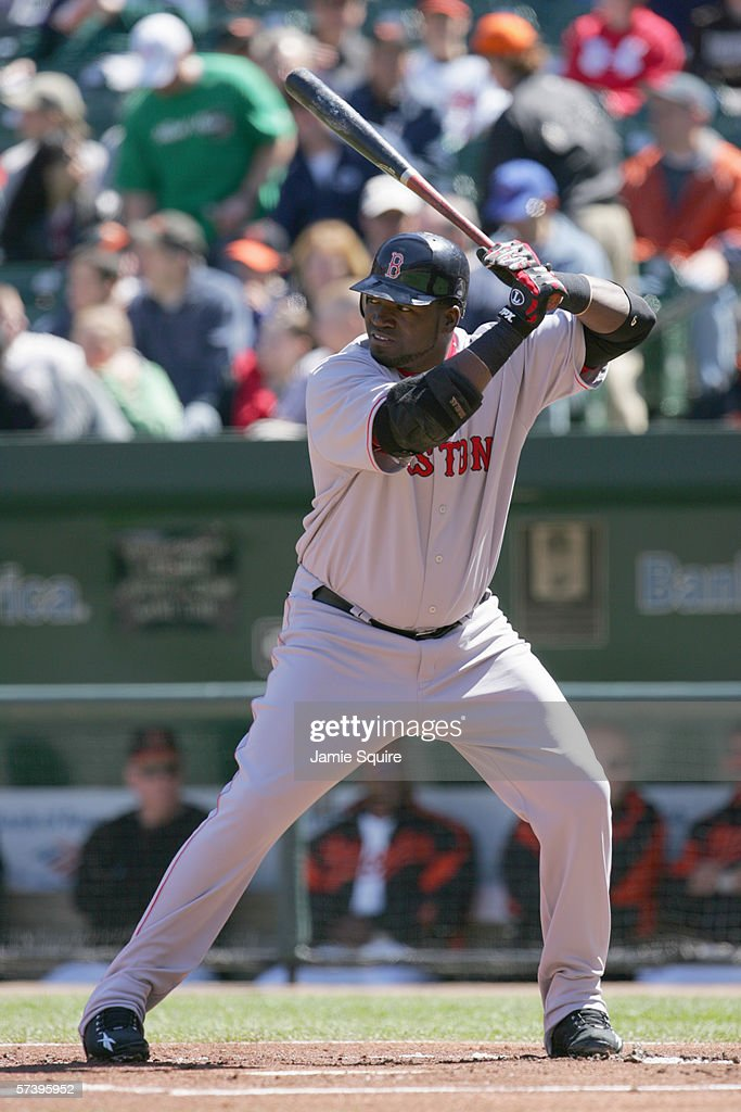 Designated hitter David Ortiz of the Boston Red Sox stands ready at bat during the game against the Baltimore Orioles on April 9 2006 at Camden Yards...