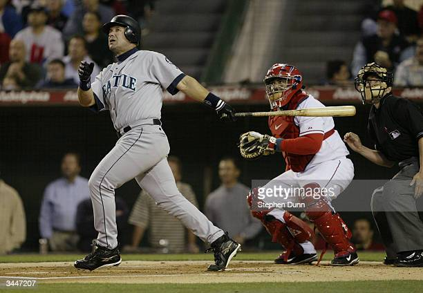 Designated hitter Edgar Martinez of the Seattle Mariners at bat during the game against the Anaheim Angels on April 13 2004 at Angel Stadium in...