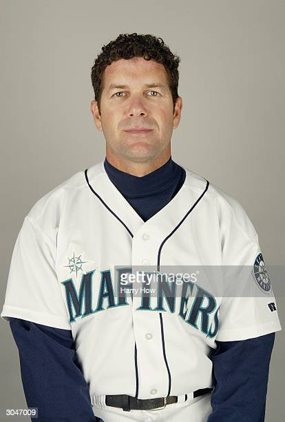 Designated hitter Edgar Martinez of the Seattle Mariners poses for a portrait during the 2004 MLB Spring Training Photo Day at Peoria Stadium on...