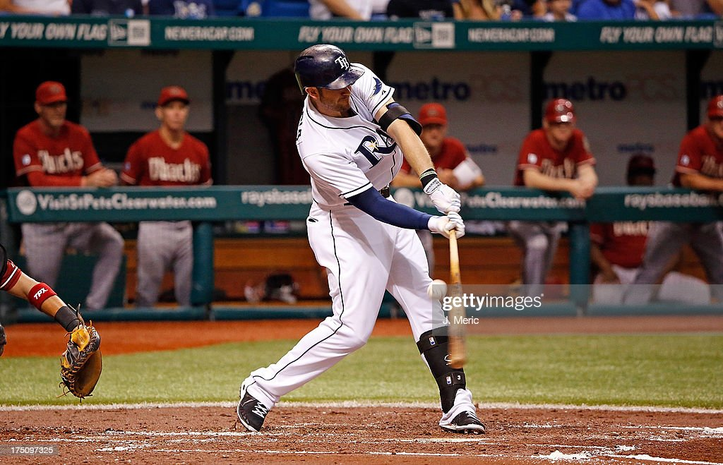 Designated hitter <a gi-track='captionPersonalityLinkClicked' href=/galleries/search?phrase=Evan+Longoria&family=editorial&specificpeople=2349329 ng-click='$event.stopPropagation()'>Evan Longoria</a> #3 of the Tampa Bay Rays fouls off a first inning pitch against the Arizona Diamondbacks during the game at Tropicana Field on July 31, 2013 in St. Petersburg, Florida.