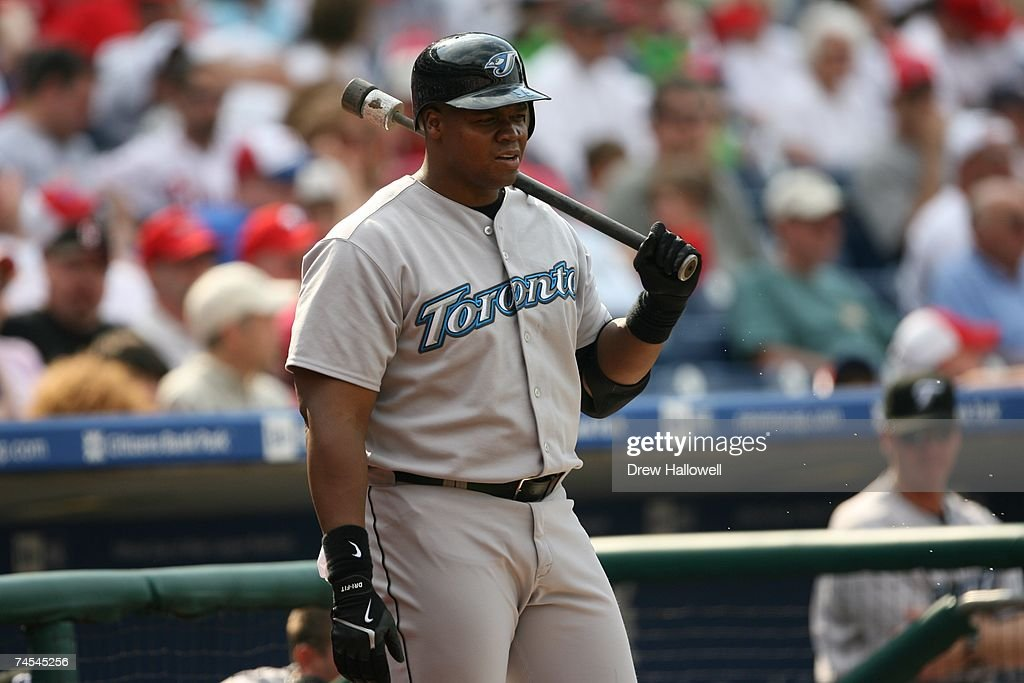Designated hitter Frank Thomas of the Toronto Blue Jays waits his turn at bat during the game against the Philadelphia Phillies on May 20 2007 at...