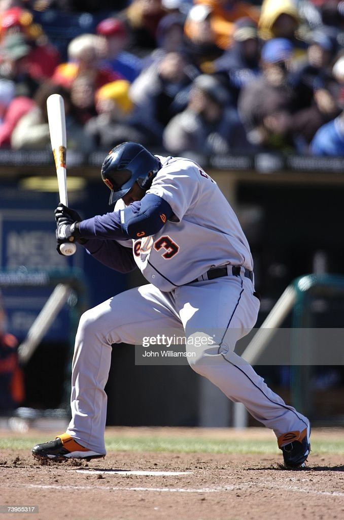 Designated hitter Gary Sheffield of the Detroit Tigers ducks an inside pitch during the game against the Kansas City Royals at Kauffman Stadium in...