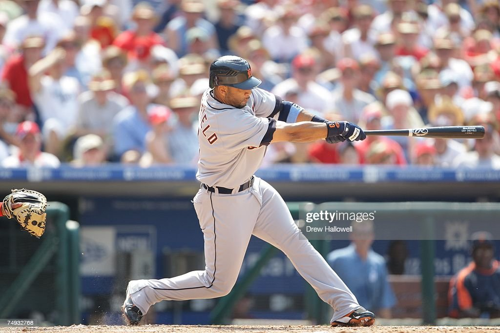 Designated hitter Gary Sheffield of the Detroit Tigers hits the ball during the game against the Philadelphia Phillies on June 17 2007 at Citizens...