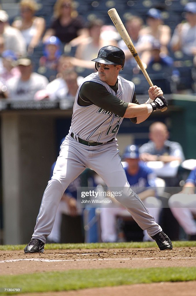 Designated hitter Greg Norton of the Tampa Bay Devil Rays bats during the game against the Kansas City Royals at Kauffman Stadium on June 10 2006 in...