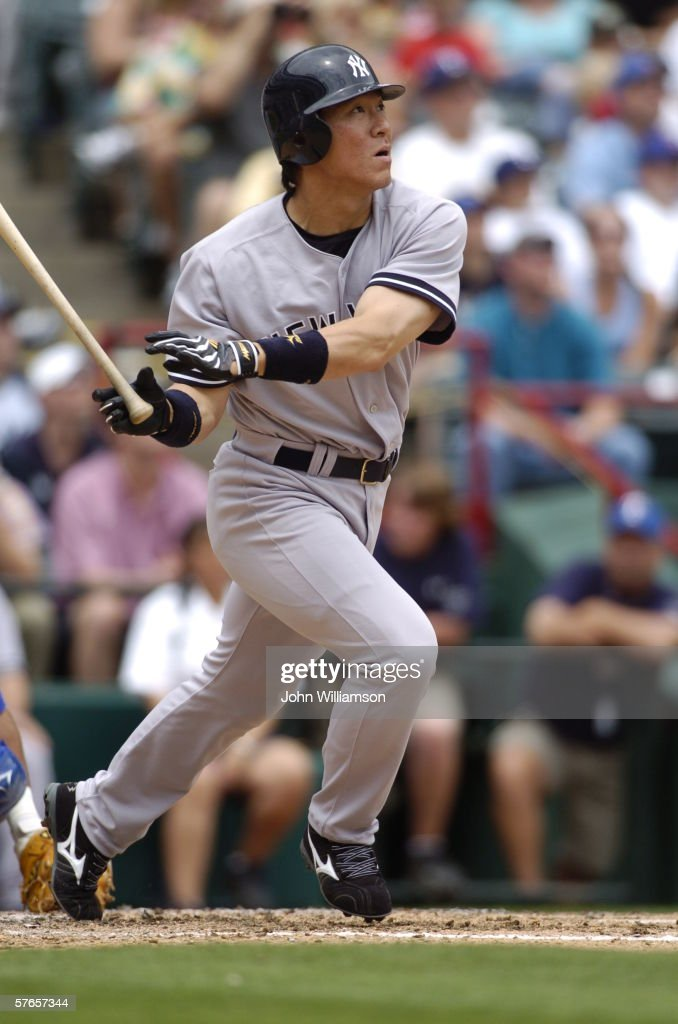 Designated hitter Hideki Matsui of the New York Yankees bats during the game against the Texas Rangers at Ameriquest Field in Arlington on May 7 2006...