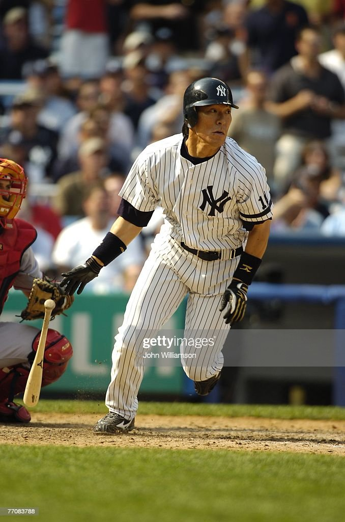 Designated hitter Hideki Matsui of the New York Yankees bats during the game against the Boston Red Sox at the Yankee Stadium in the Bronx New York...