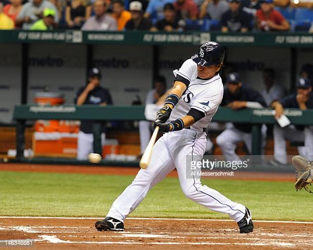 Designated hitter Hideki Matsui of the Tampa Bay Rays singles against the New York Mets June 14 2012 at Tropicana Field in St Petersburg Florida