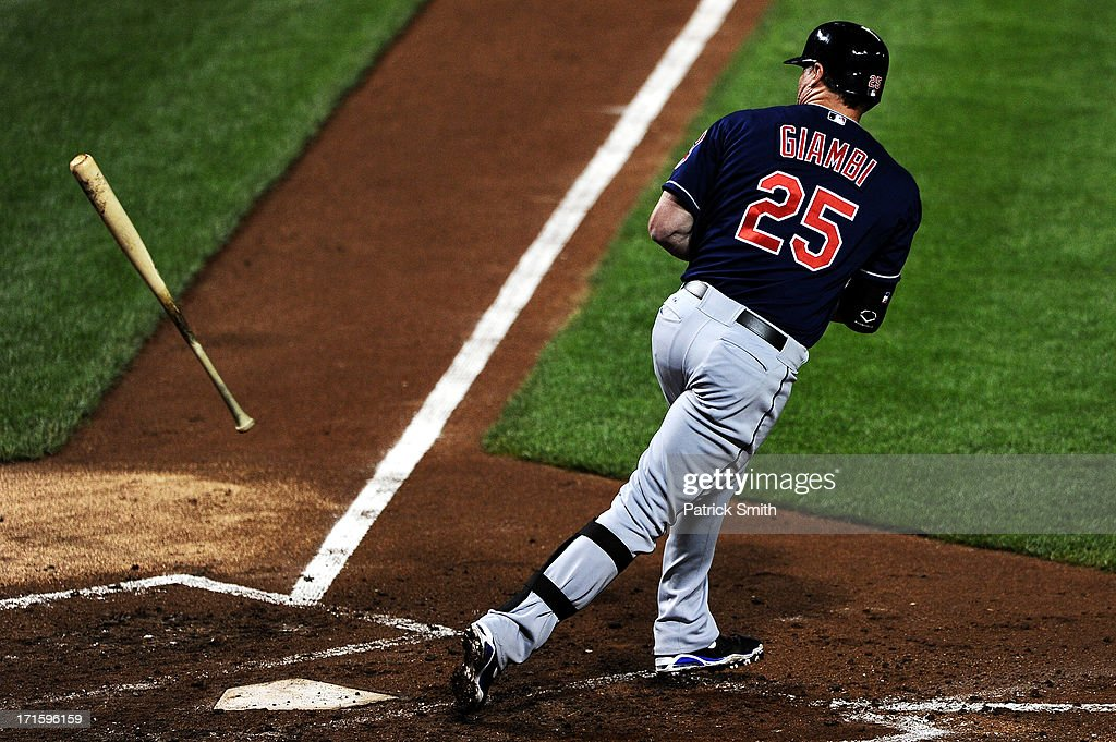Designated hitter <a gi-track='captionPersonalityLinkClicked' href=/galleries/search?phrase=Jason+Giambi&family=editorial&specificpeople=194953 ng-click='$event.stopPropagation()'>Jason Giambi</a> #25 of the Cleveland Indians is walked in the fifth inning against the Baltimore Orioles at Oriole Park at Camden Yards on June 26, 2013 in Baltimore, Maryland. The Cleveland Indians won, 4-3.