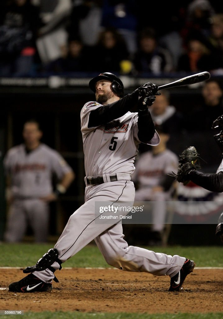 Designated hitter Jeff Bagwell of the Houston Astros strikes out to end the eigth inning of Game One of the 2005 Major League Baseball World Series...