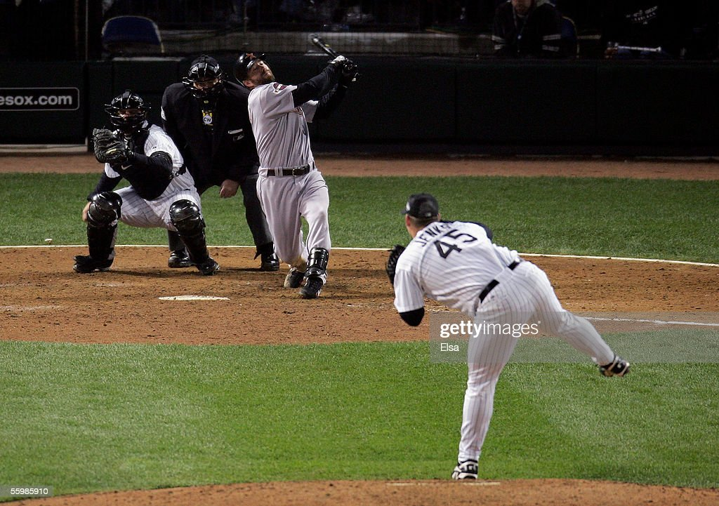 Designated hitter Jeff Bagwell of the Houston Astros strikes out to end the eighth inning from pitcher Bobby Jenks of the Chicago White Sox in Game...
