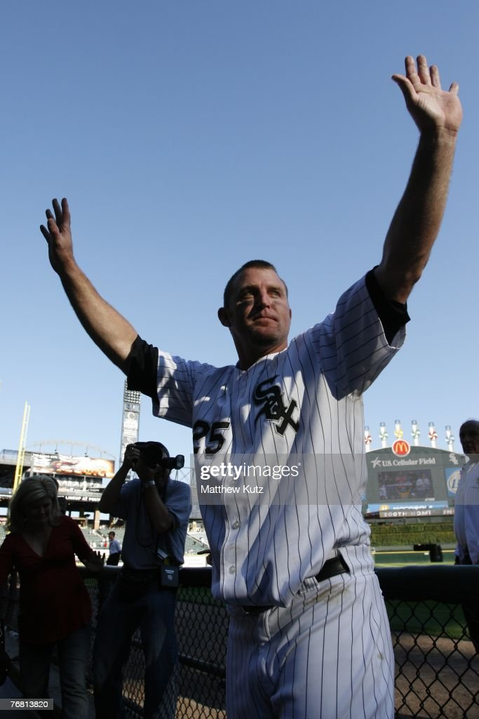 Designated hitter Jim Thome of the Chicago White Sox acknowledges fans after hitting his 500th career homerun during the game against the Los Angeles...