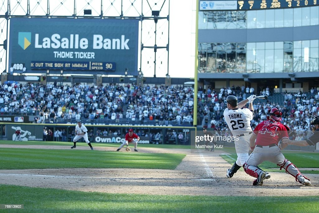 Designated hitter Jim Thome of the Chicago White Sox hits his 500th career homerun during the game against the Los Angeles Angels at US Cellular...