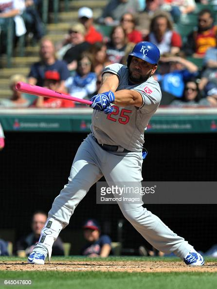 Designated hitter Kendrys Morales of the Kansas City Royals bats during a game against the Cleveland Indians on May 8 2016 at Progressive Field in...