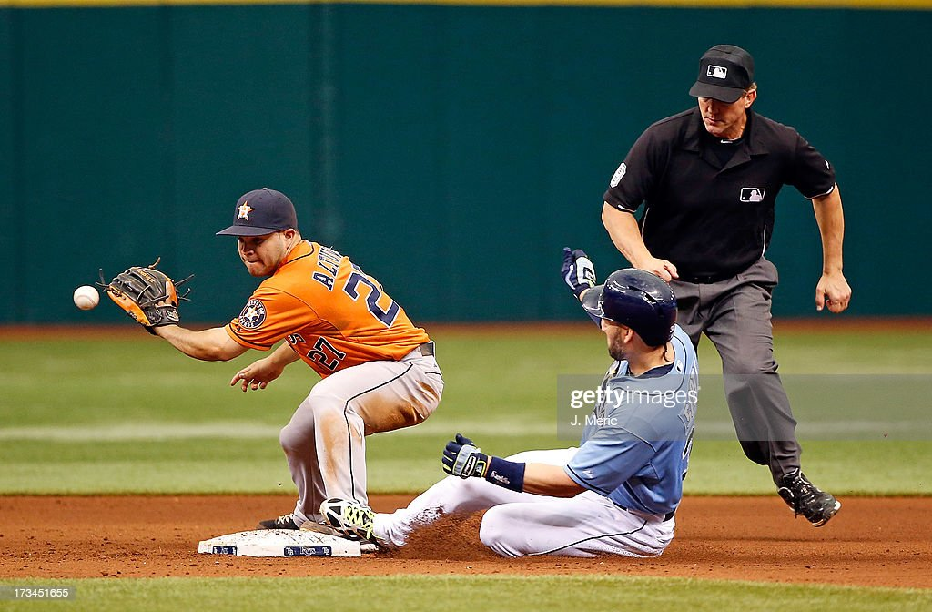 Designated hitter <a gi-track='captionPersonalityLinkClicked' href=/galleries/search?phrase=Luke+Scott&family=editorial&specificpeople=757156 ng-click='$event.stopPropagation()'>Luke Scott</a> #30 of the Tampa Bay Rays doubles as infielder Jose Altuve #27 of the Houston Astros takes the throw at second base during the game at Tropicana Field on July 14, 2013 in St. Petersburg, Florida.