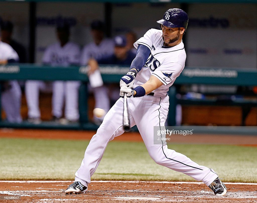 Designated hitter <a gi-track='captionPersonalityLinkClicked' href=/galleries/search?phrase=Luke+Scott&family=editorial&specificpeople=757156 ng-click='$event.stopPropagation()'>Luke Scott</a> #30 of the Tampa Bay Rays fouls off a pitch against the Boston Red Sox during the game at Tropicana Field on September 20, 2012 in St. Petersburg, Florida.