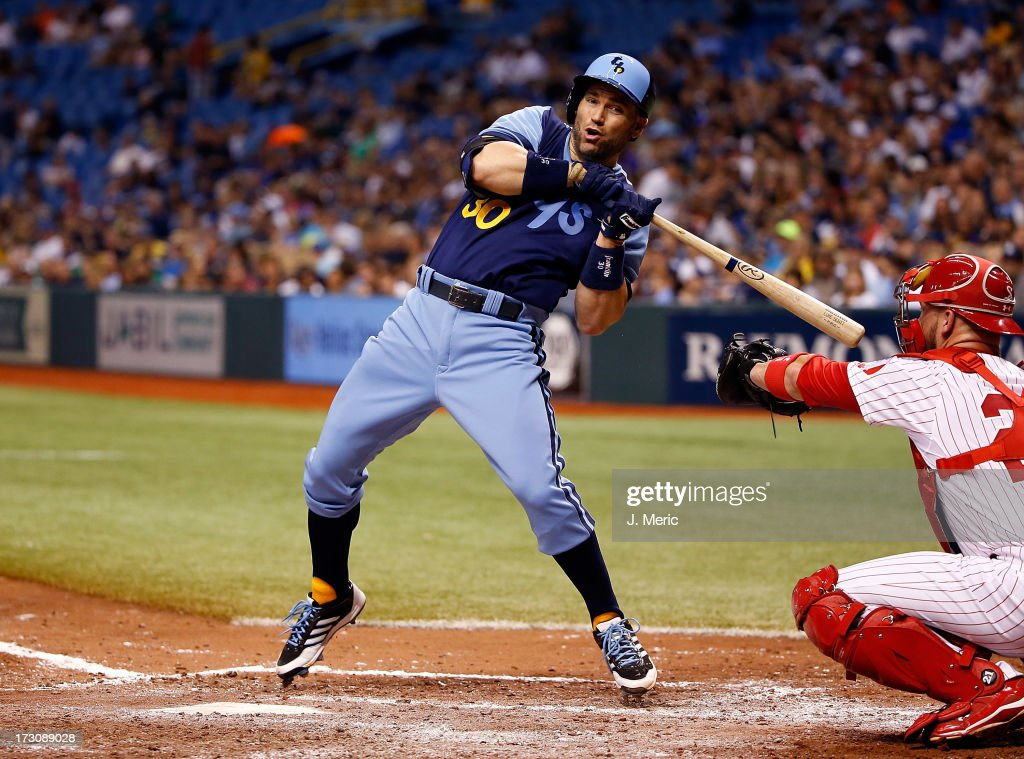 Designated hitter <a gi-track='captionPersonalityLinkClicked' href=/galleries/search?phrase=Luke+Scott&family=editorial&specificpeople=757156 ng-click='$event.stopPropagation()'>Luke Scott</a> #30 of the Tampa Bay Rays just gets out of the way of this pitch against the Chicago White Sox during the game at Tropicana Field on July 6, 2013 in St. Petersburg, Florida.