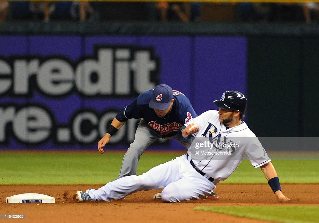 Designated hitter <a gi-track='captionPersonalityLinkClicked' href=/galleries/search?phrase=Luke+Scott&family=editorial&specificpeople=757156 ng-click='$event.stopPropagation()'>Luke Scott</a> #30 of the Tampa Bay Rays slides into second base for a steal against the Cleveland Indians July 16, 2012 at Tropicana Field in St. Petersburg, Florida.