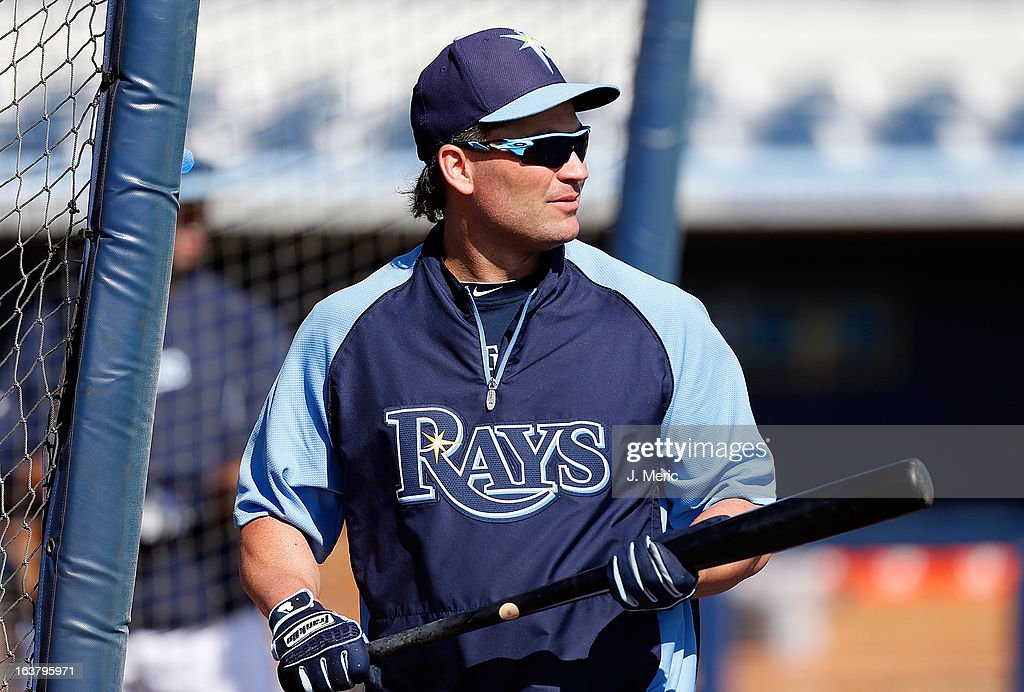 Designated hitter Luke Scott #30 of the Tampa Bay Rays watches a ball during batting practice just before the start of the Grapefruit League Spring Training Game against the Boston Red Sox at the Charlotte Sports Complex on March 16, 2013 in Port Charlotte, Florida.
