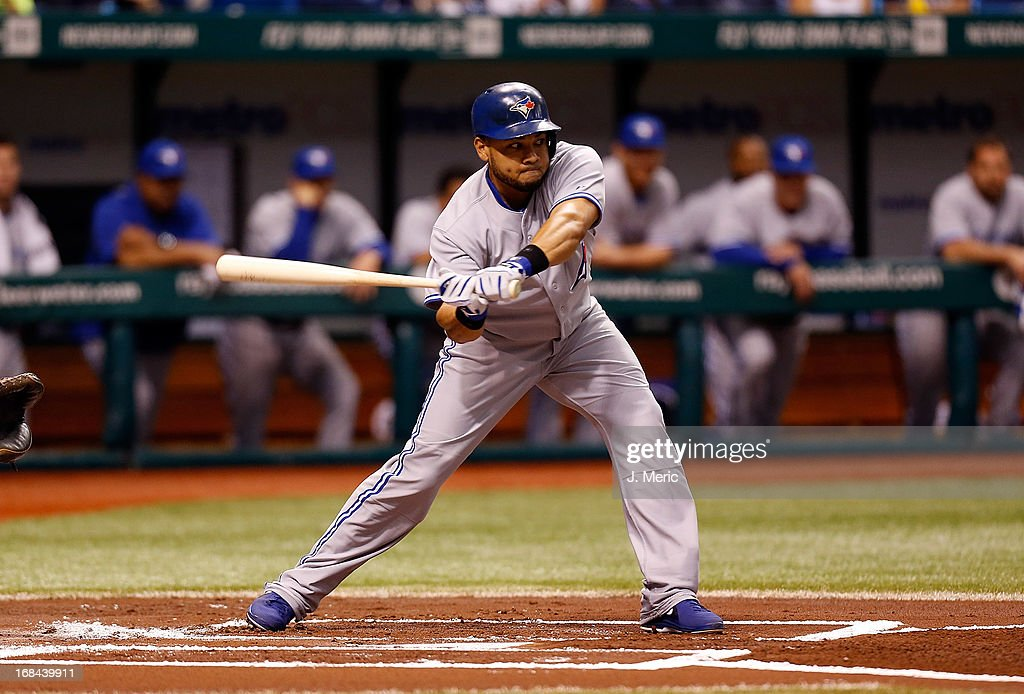 Designated hitter Melky Cabrera #53 of the Toronto Blue Jays checks his swing against the Tampa Bay Rays during the game at Tropicana Field on May 9, 2013 in St. Petersburg, Florida.