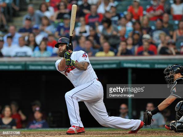 Designated hitter Mike Napoli of the Cleveland Indians bats during a game against the Miami Marlins on September 4 2016 at Progressive Field in...