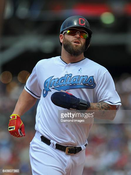 Designated hitter Mike Napoli of the Cleveland Indians runs toward third base during a game against the Chicago White Sox on June 19 2016 at...