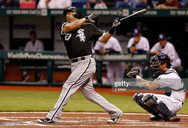 Designated hitter Ramon Castro of the Chicago White Sox bats against the Tampa Bay Rays during the game at Tropicana Field on April 18 2011 in St...